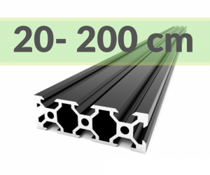 Aluminum profile V-SLOT 2060 - Anodized black ( cut-to-size)